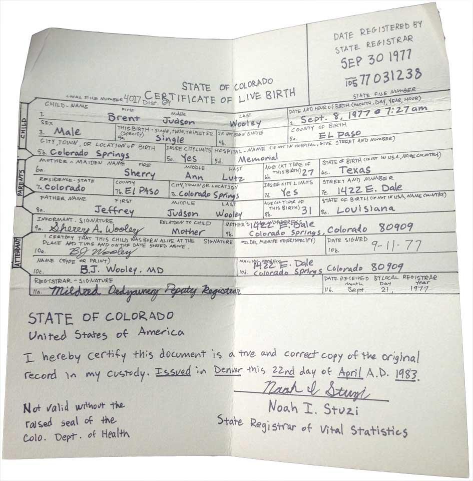 Hand Copied Birth Certificate